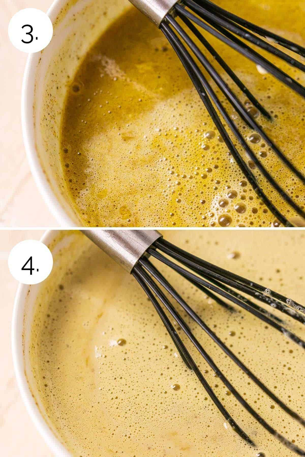 Showing the processing of whisking the cream and egg mixtures together.