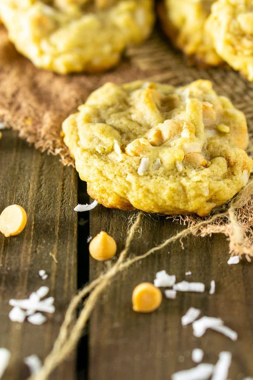 A close-up of the butterscotch-coconut-bourbon cookie on burlap.