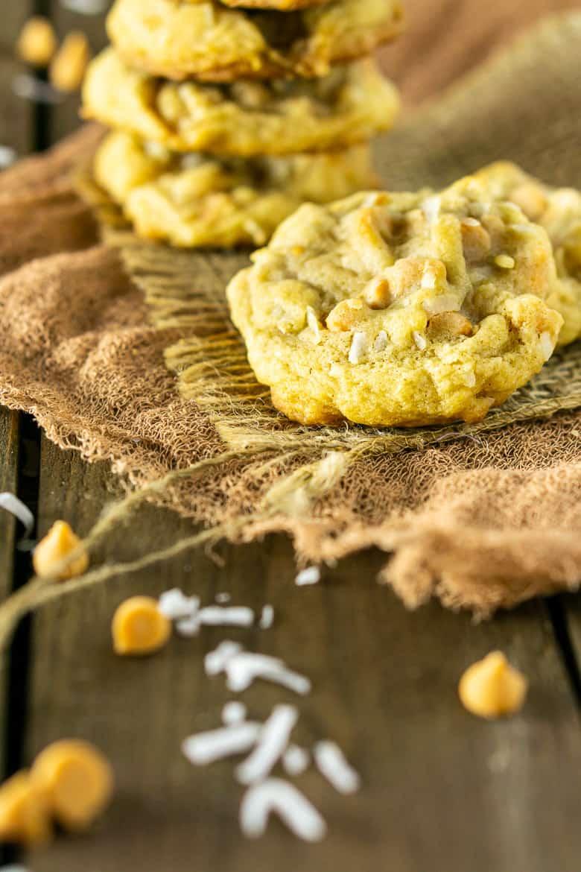 A butterscotch-coconut-bourbon cookie on burlap.