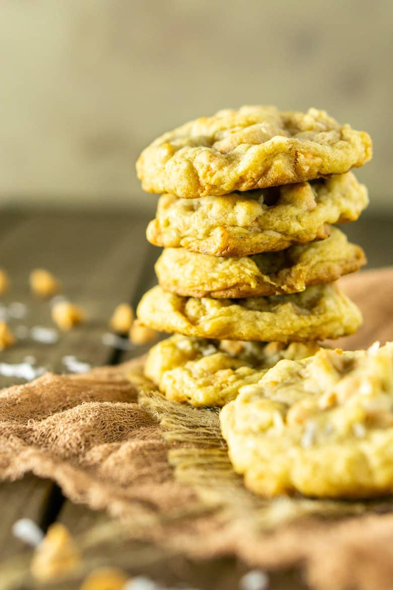 A stack of butterscotch-coconut-bourbon cookies.