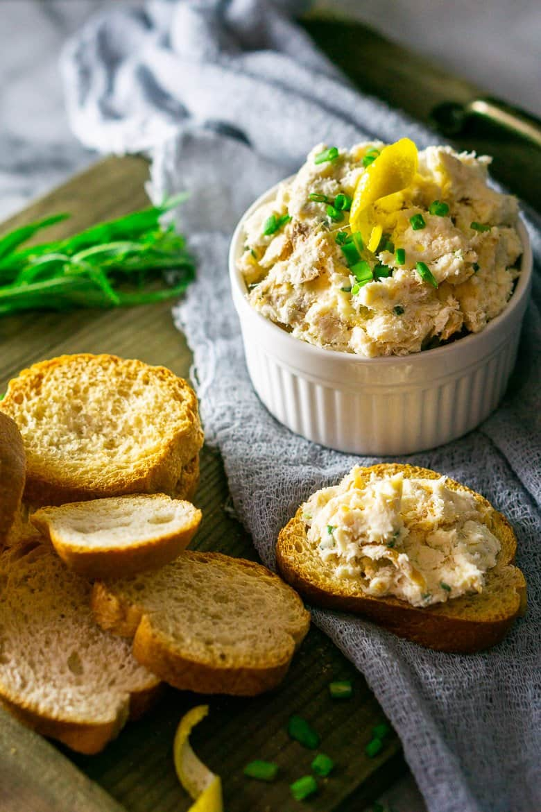 An aerial view of the herbed smoked trout spread.