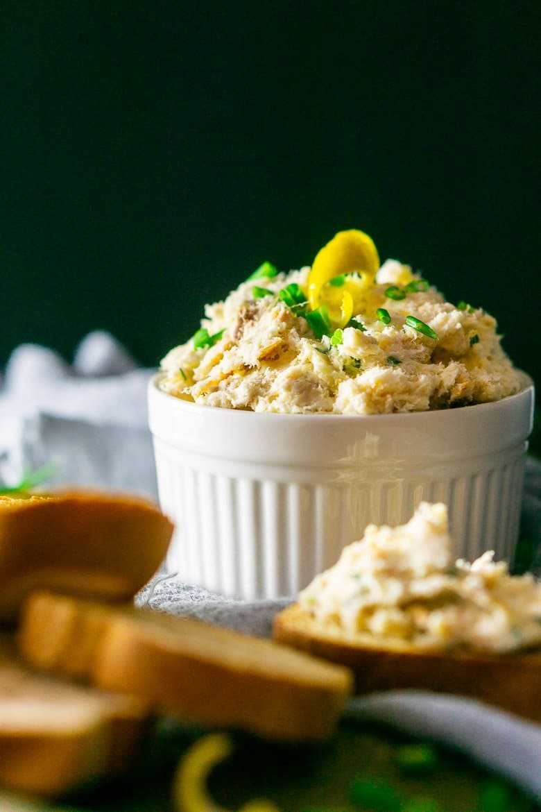 A straight-on view of the herbed smoked trout spread.
