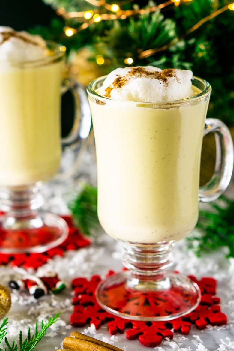 A close-up of the maple eggnog.