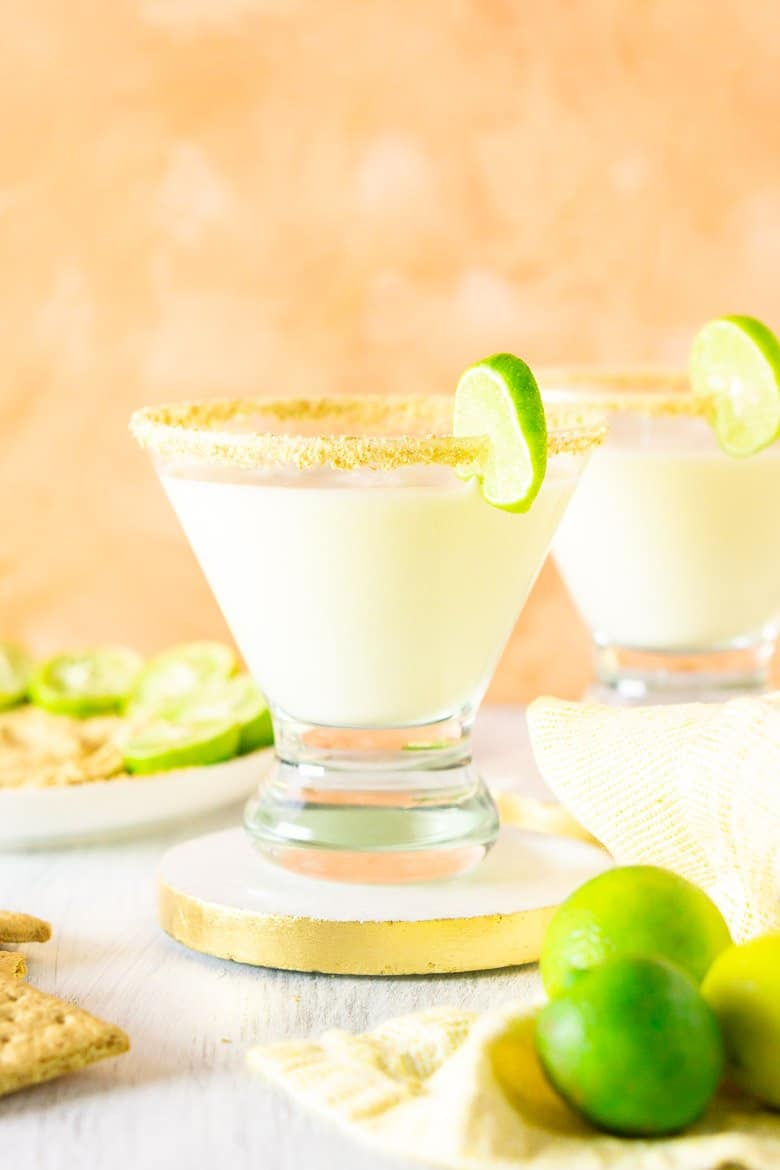 An upfront and low view of the sparkling key lime pie martini.
