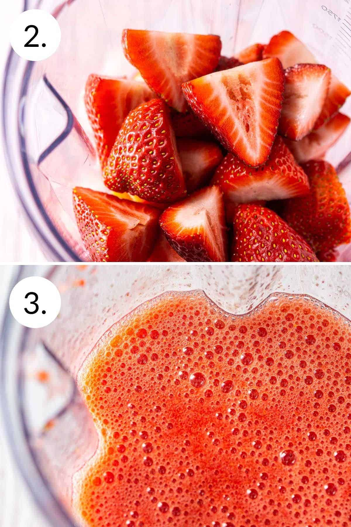 A collage showing the process of blending the strawberries with mint simple syrup and corn syrup.