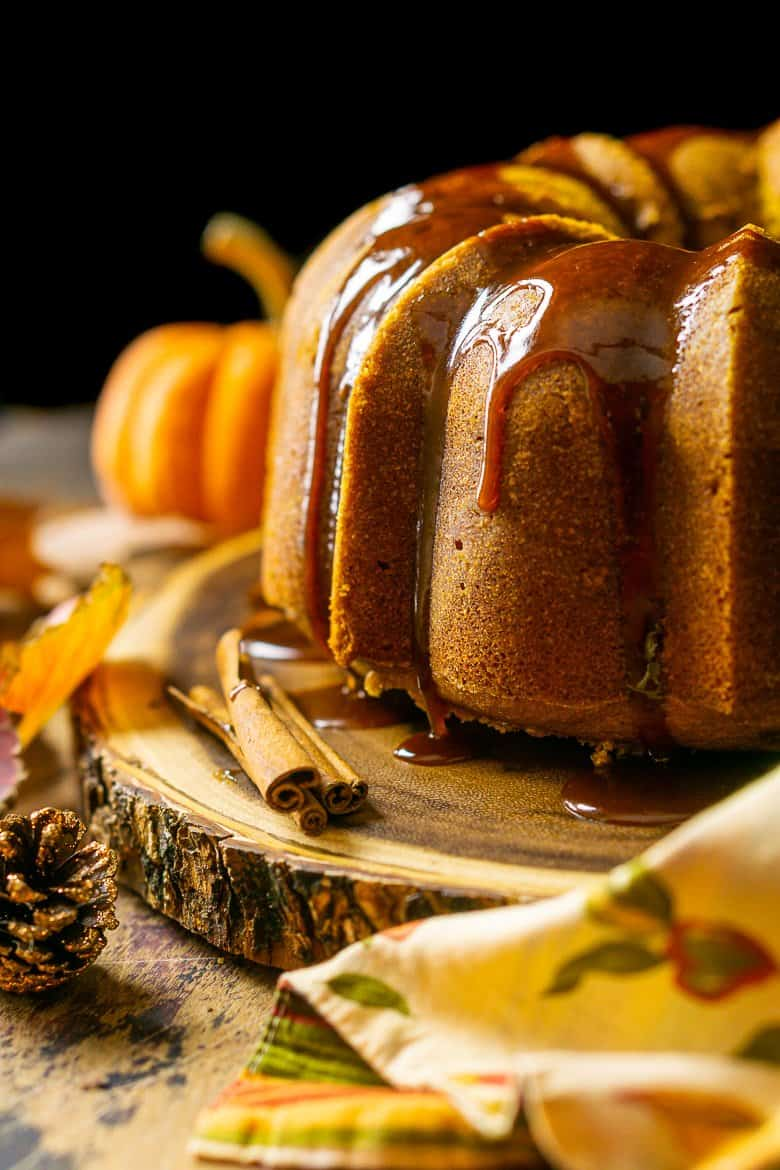 A close-up view of the buttermilk-pumpkin pound cake with the fall-themed napkin tucked in front.