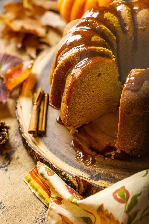 The buttermilk-pumpkin pound cake after it's been sliced.