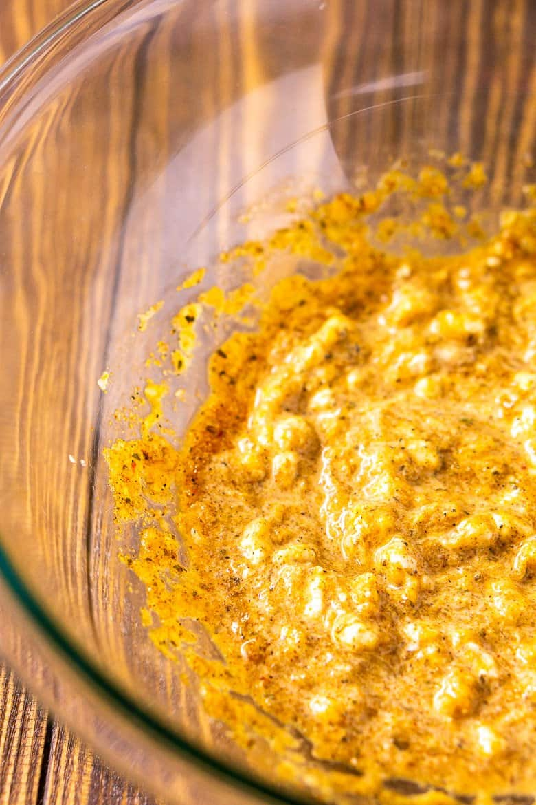 The egg mixture after combining into a cohesive mixture in a large bowl.