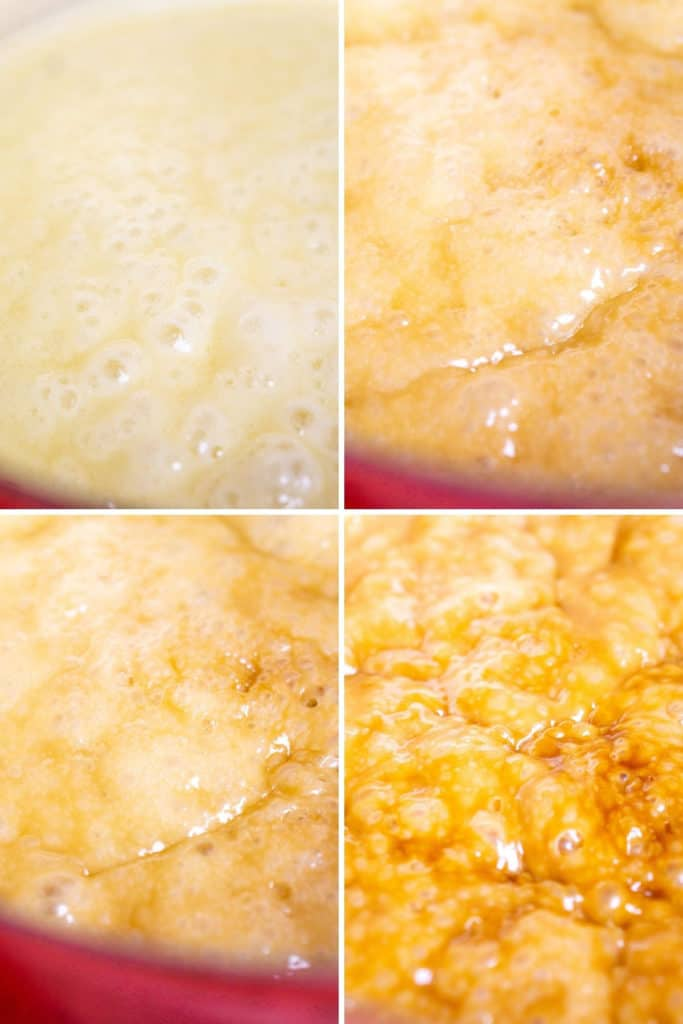 A collage of how the toffee turns from a pale color to an amber hue.