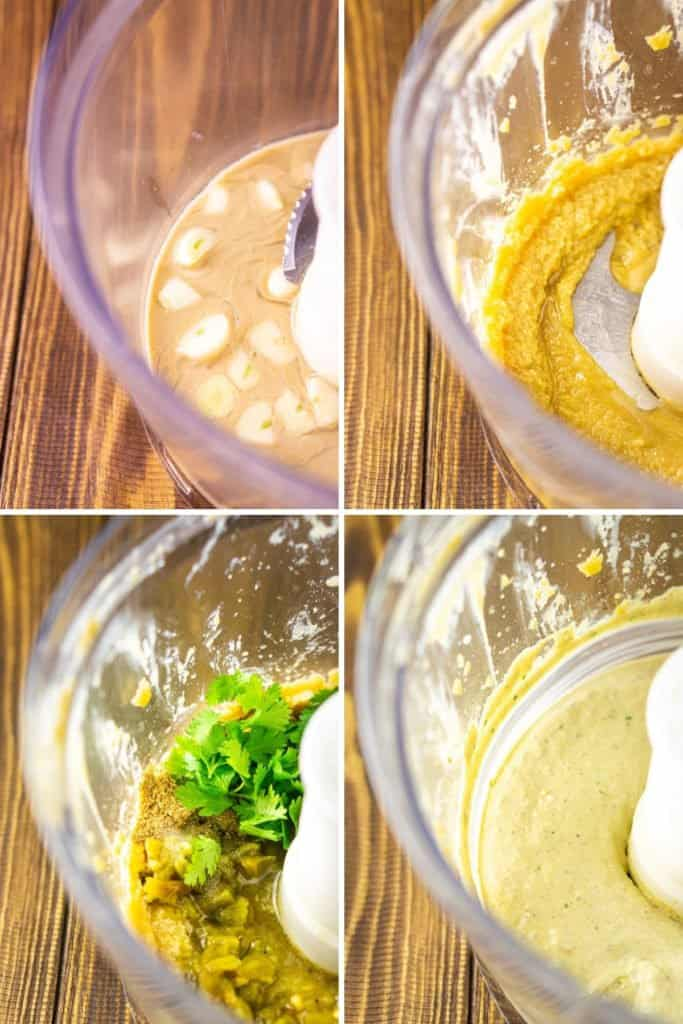 A collage of the ingredients in a food processor showing the progression of the hummus coming together in different blending stages.