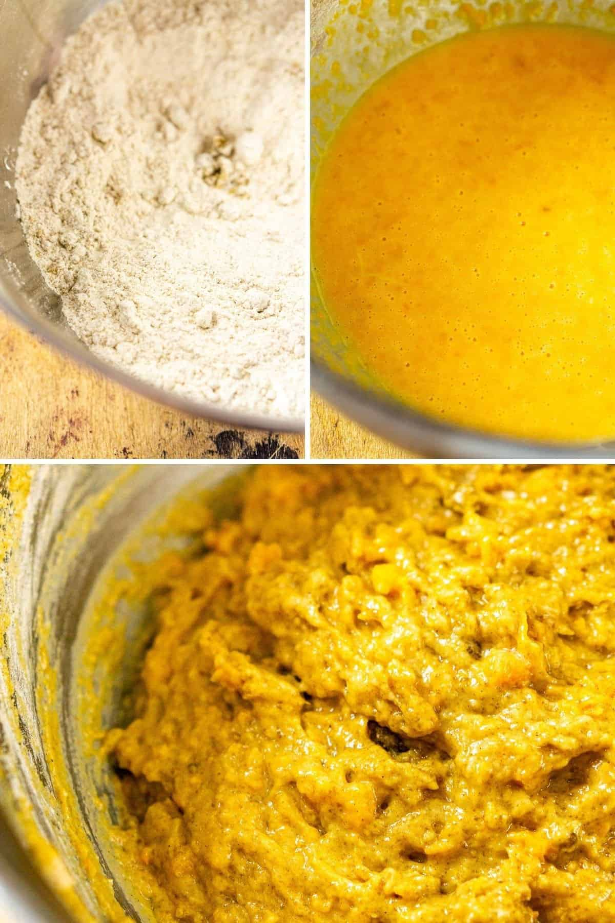 A photo collage of mixing the dry ingredient, the wet ingredients and then folding them together in a mixing bowl.