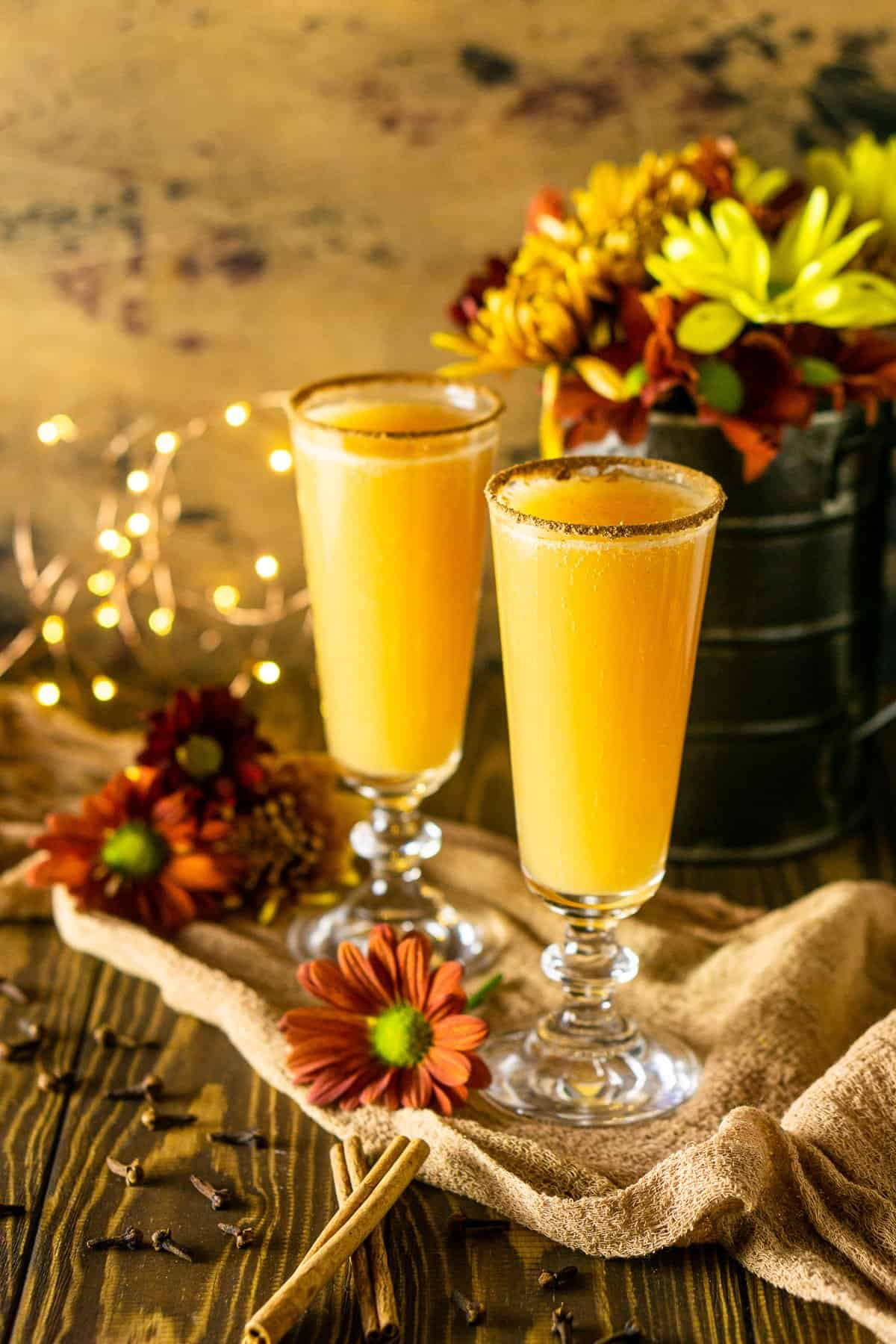 Two of the fall mimosas with lights behind them.