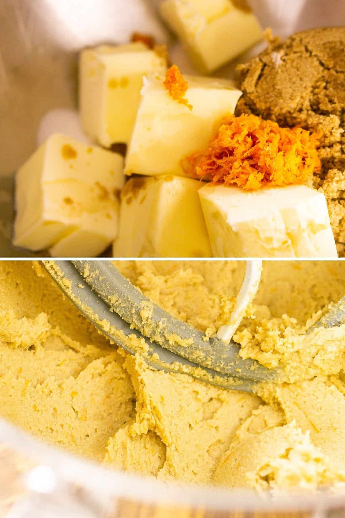A collage showing the process of creaming together the ingredients until they're light and fluffy in a mixing bowl.
