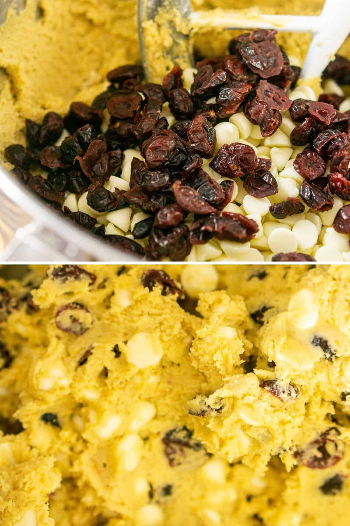 A collage showing the process of mixing in the cranberries and white chocolate chips into the cookie dough.