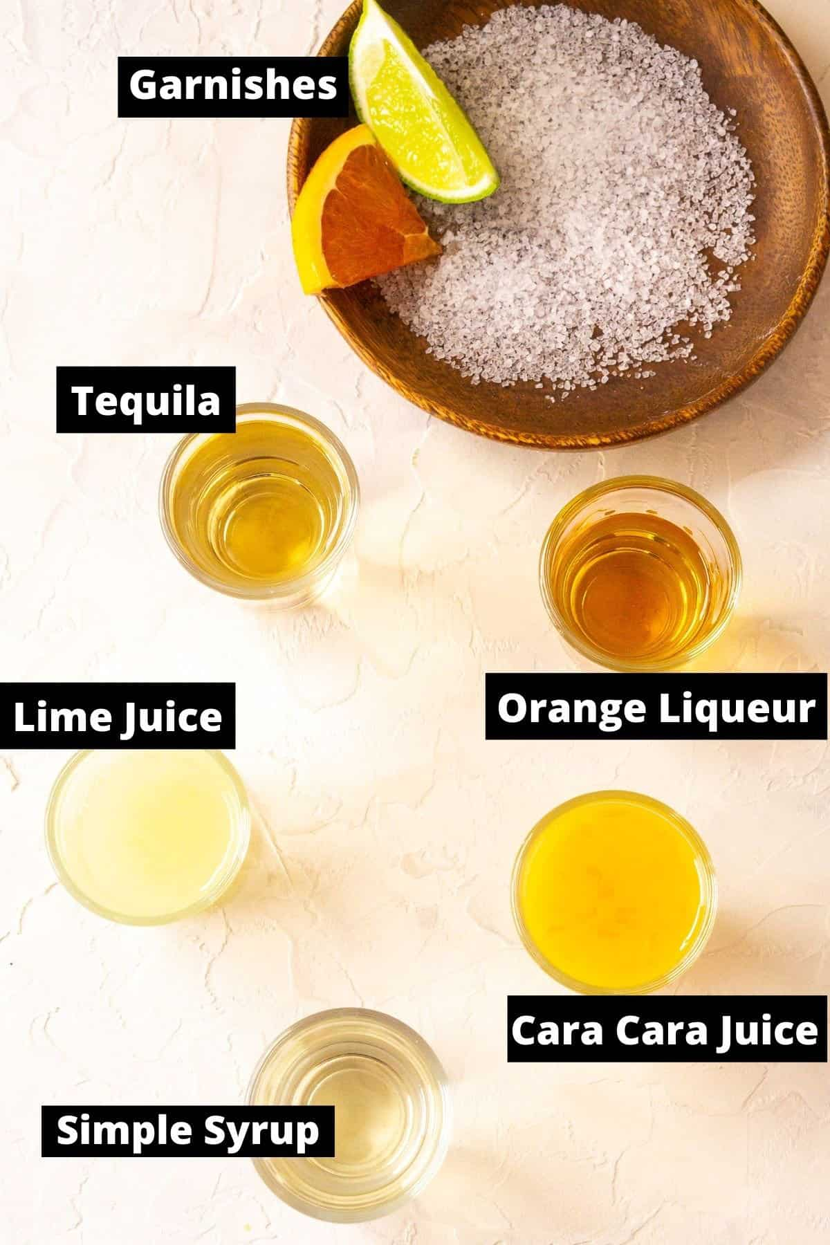 The ingredients with black and white labels on a white background.