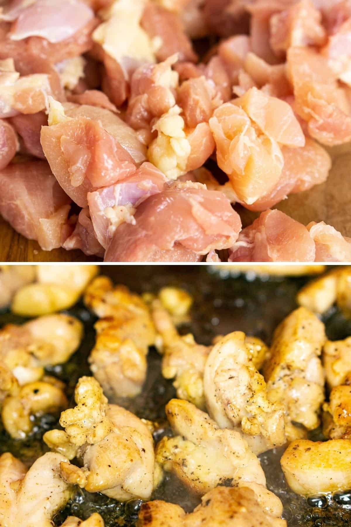 A collage showing the process of cooking the chicken from raw until it browns.