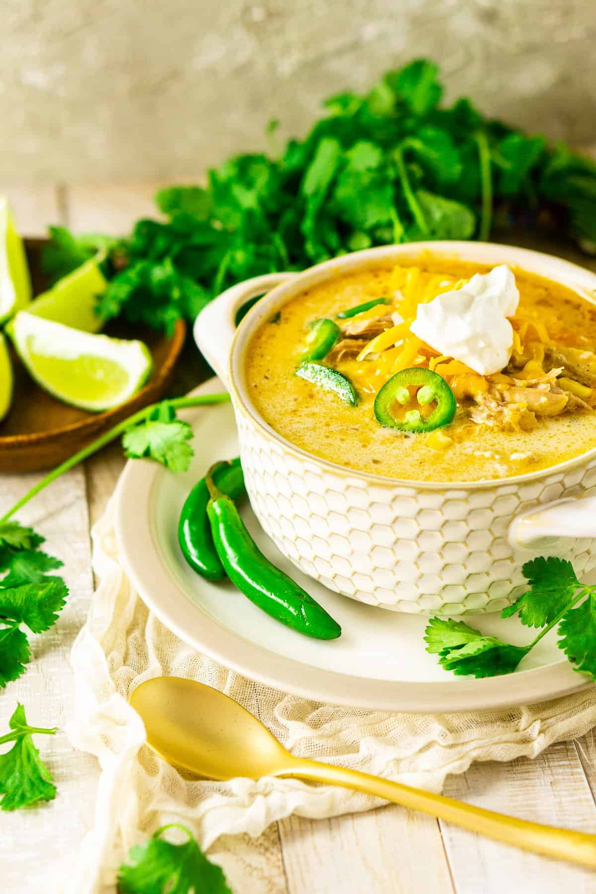 The creamy white chicken chili on a plate with jalapenos and cilantro in the background.
