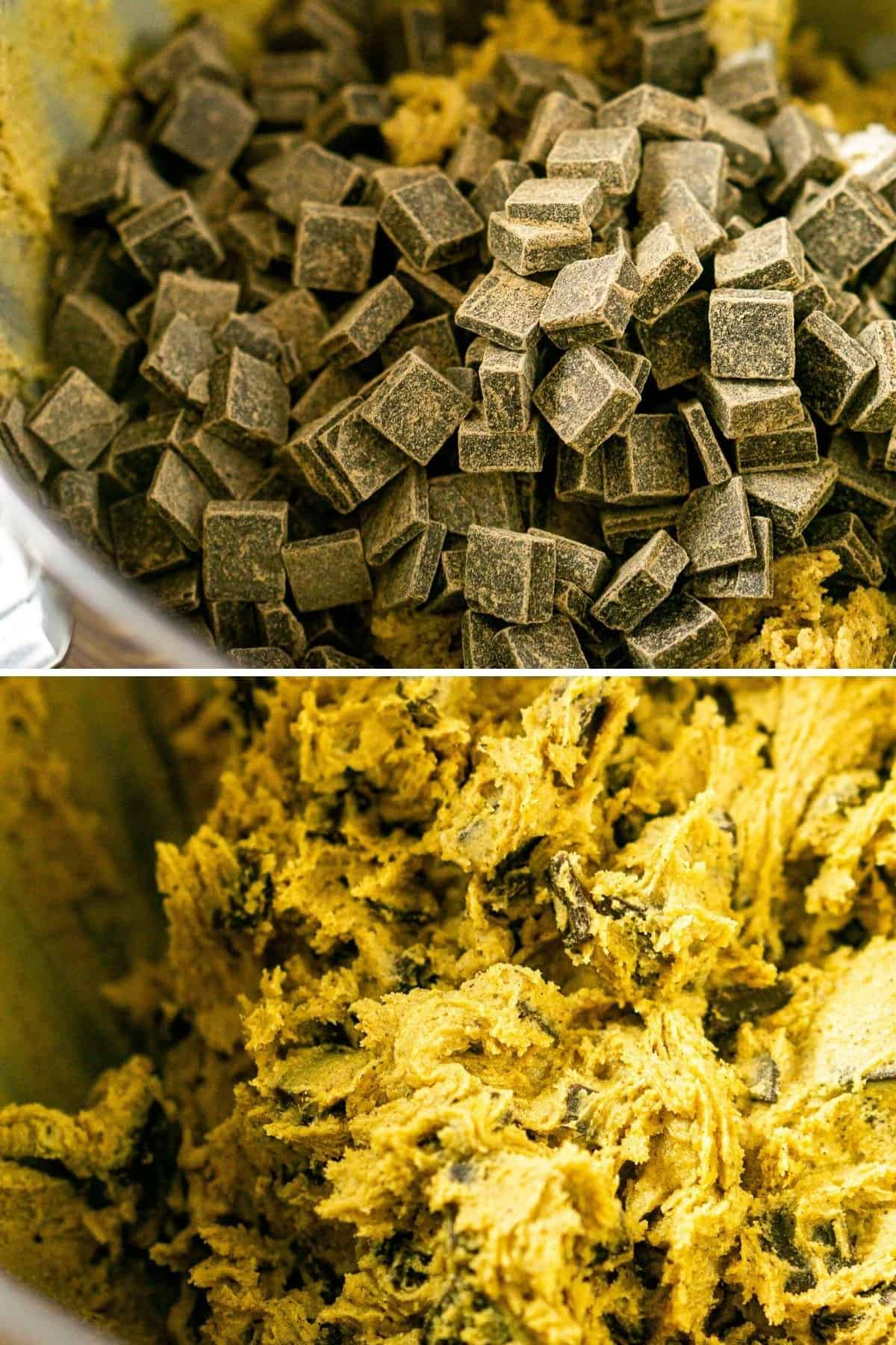 A collage showing the process of adding the chocolate chunks to the dough and then stirring them into the dough.