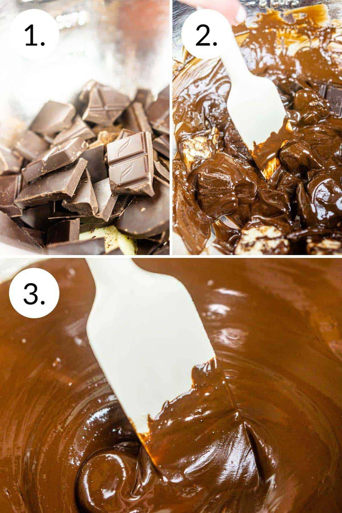 A collage showing the process of melting chocolate over a pot of simmering water until it melts and turns smooth.