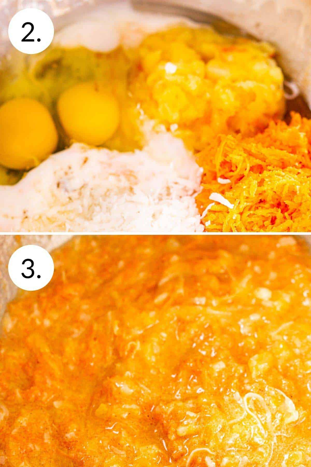 A collage showing the process of whisking the wet ingredients into one cohesive mixture.