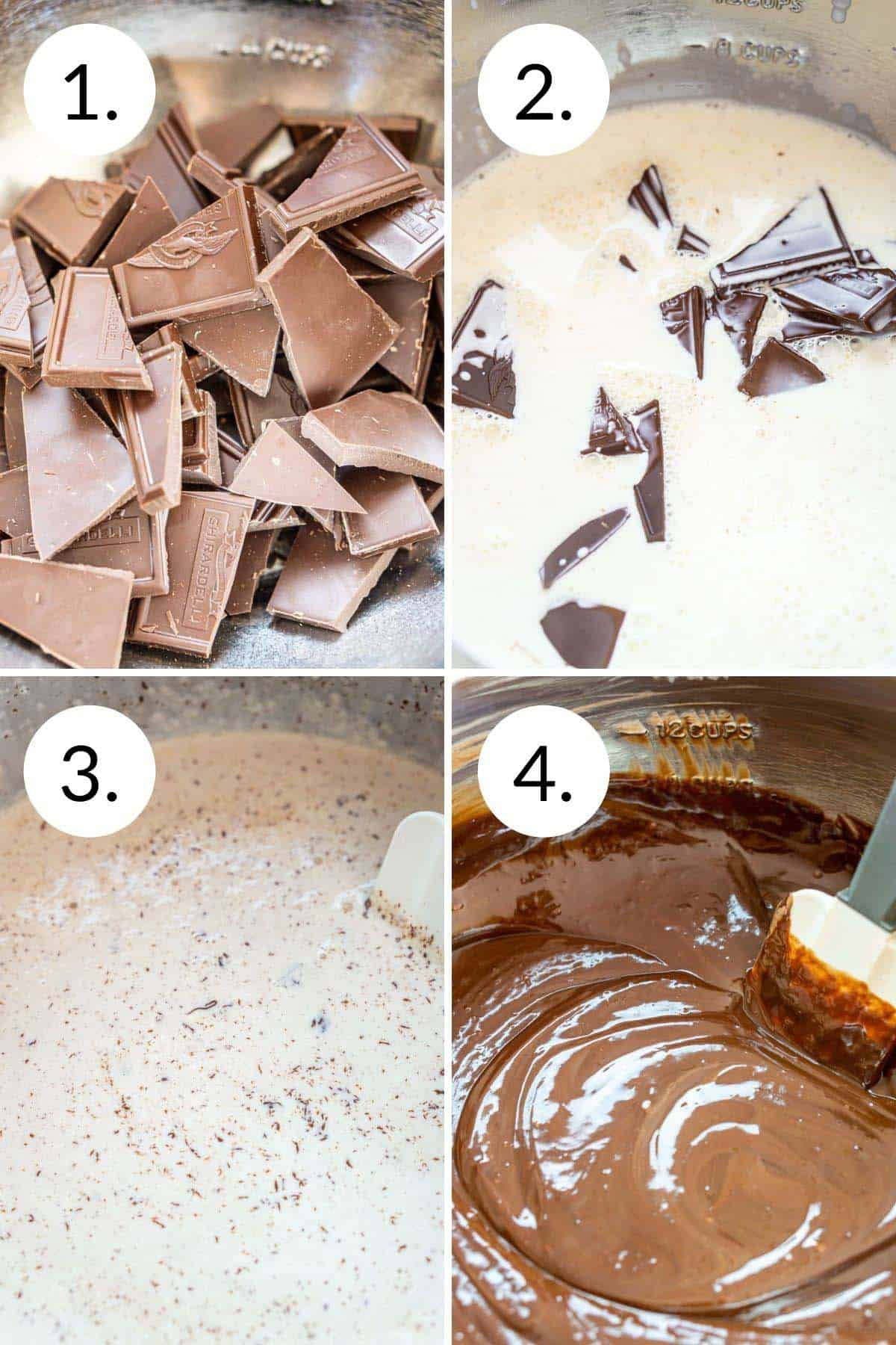 A collage showing the process of how to make the chocolate ganache frosting.