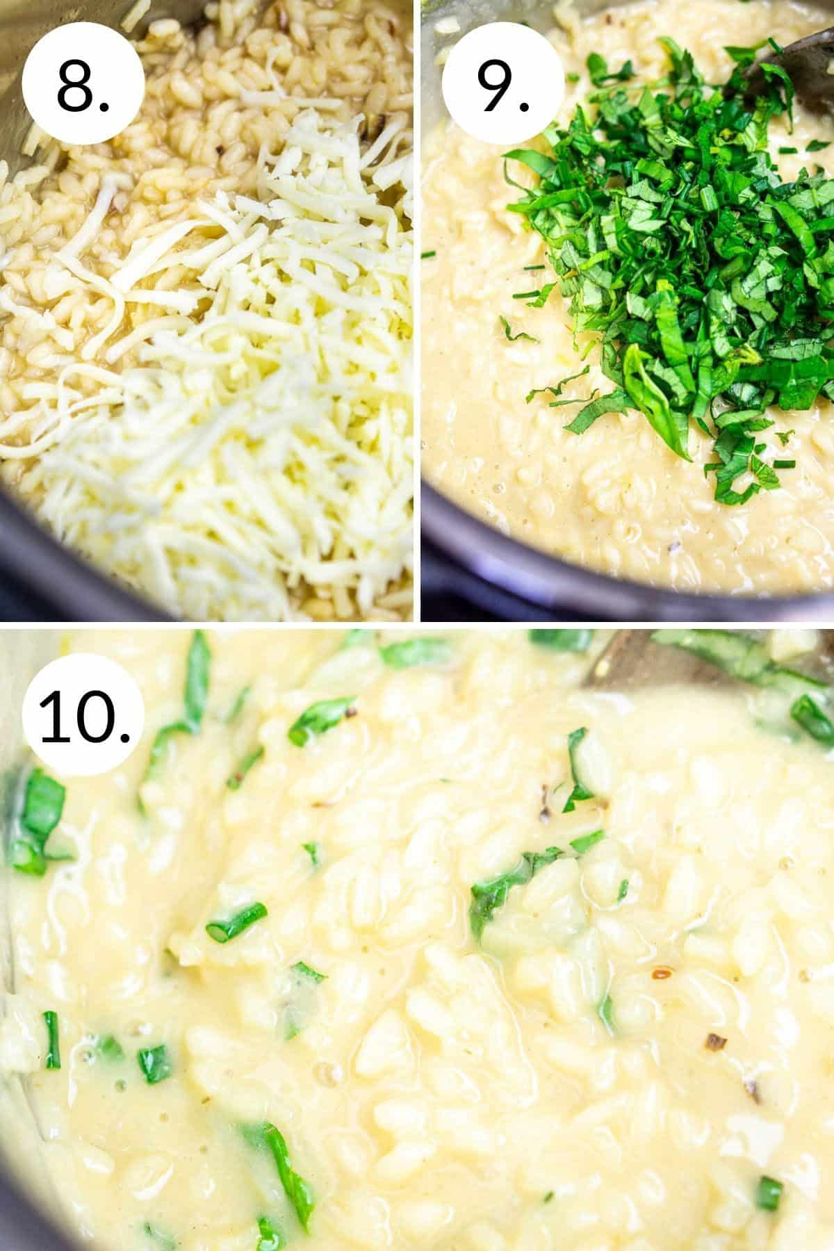 A collage showing the process of adding the cheese, herbs and stirring to get the right texture.