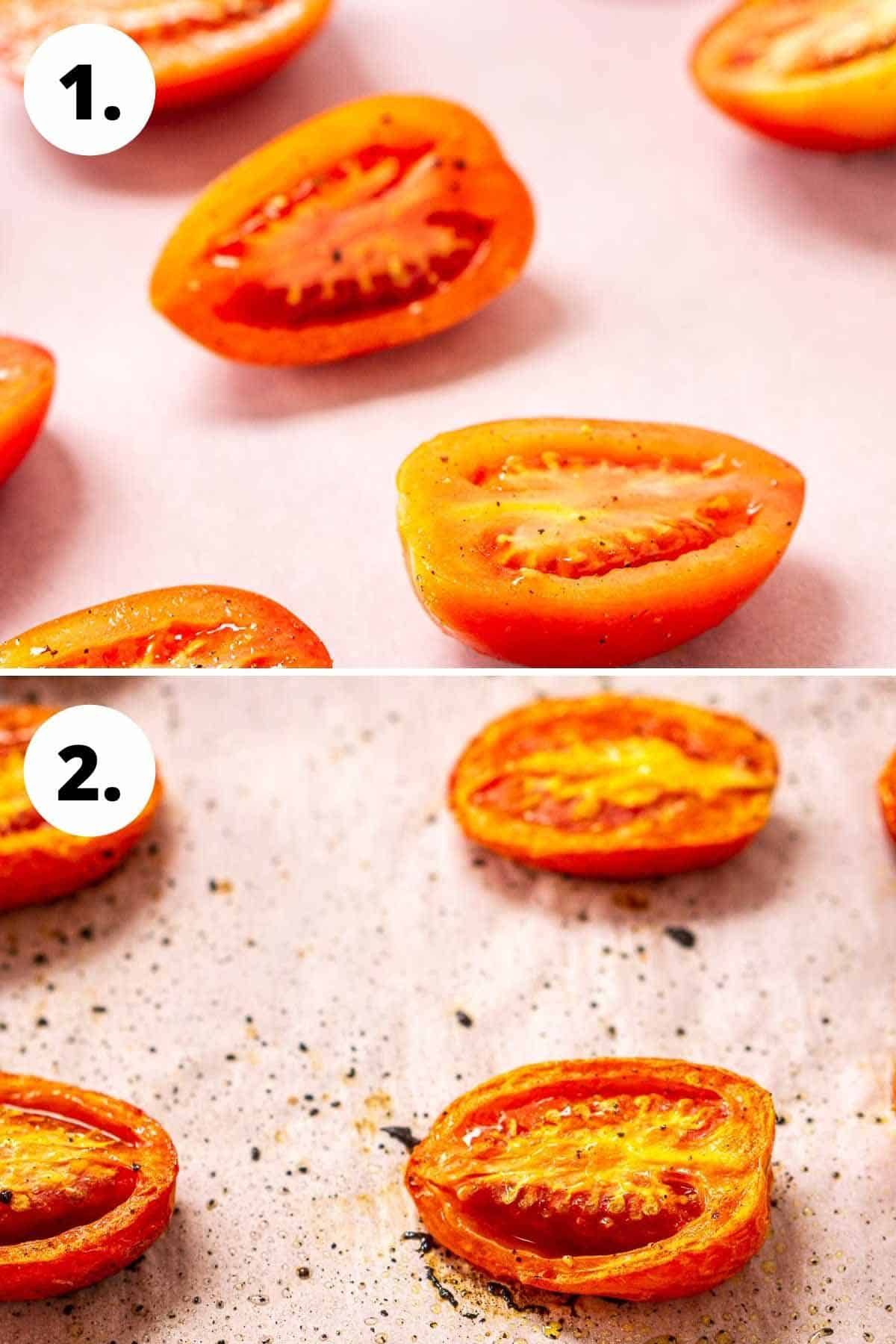 A collage showing the tomatoes on a sheet pan before roasting and then after roasting.