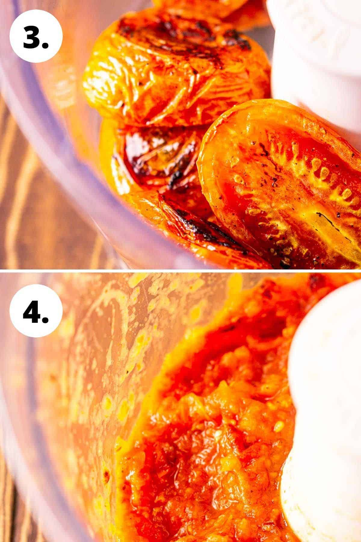 A collage showing the tomatoes in a food processor before blending and then after.