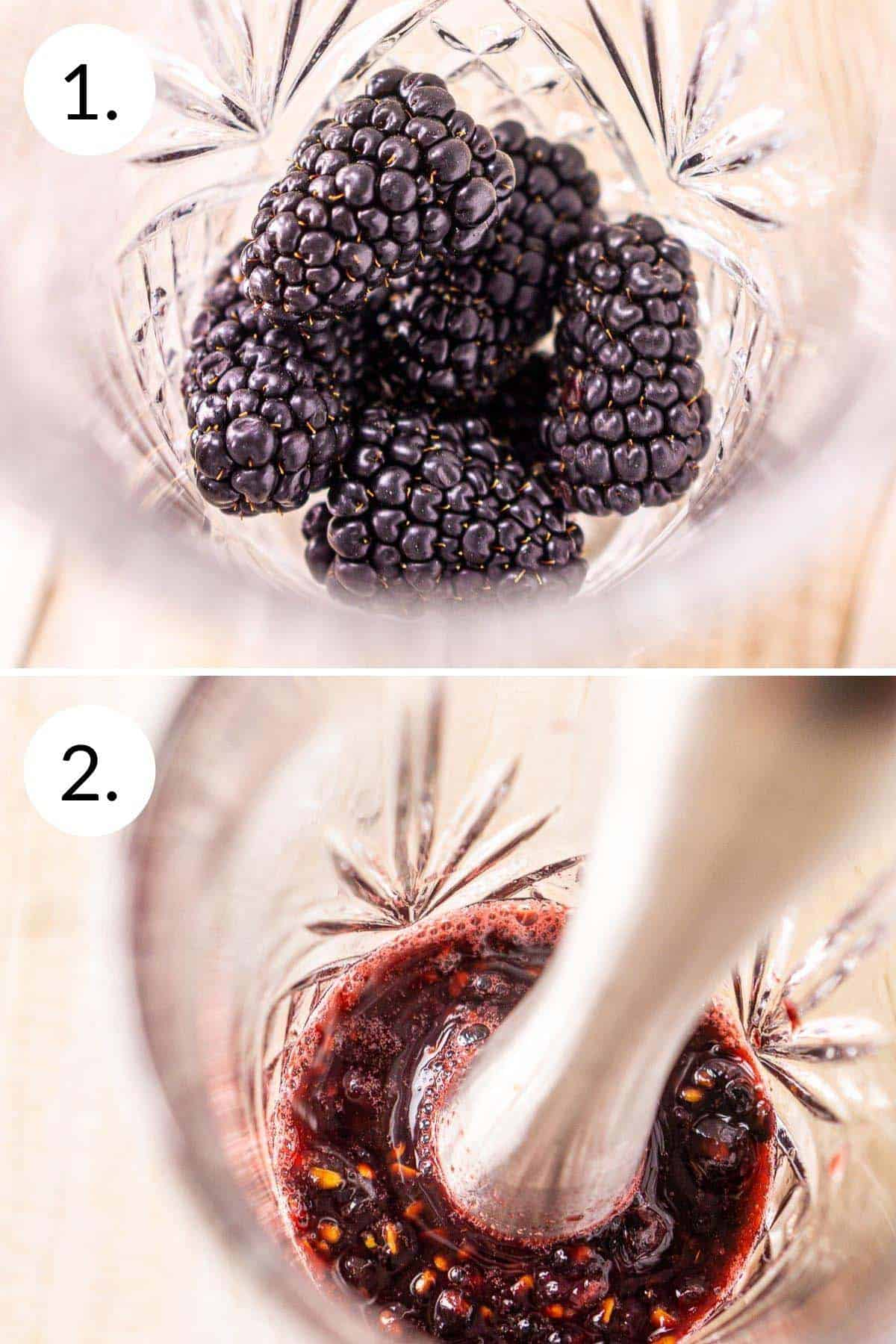 A photo collage showing the process of muddling the blackberries.