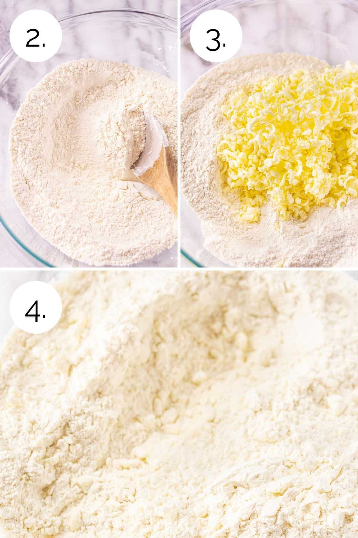 Showing the process of combining the dry ingredients and adding the frozen grated butter.