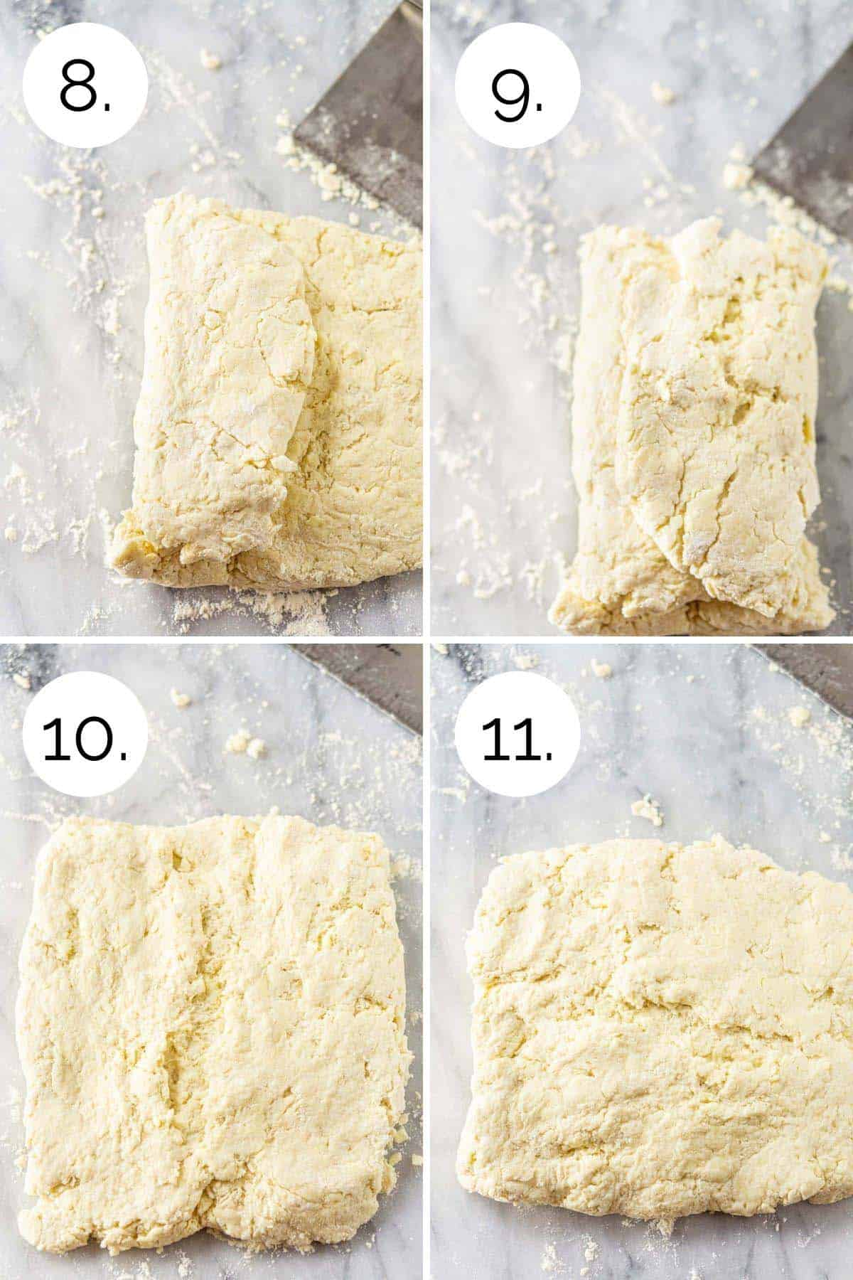 Showing the process of folding the biscuit dough on a pastry board.