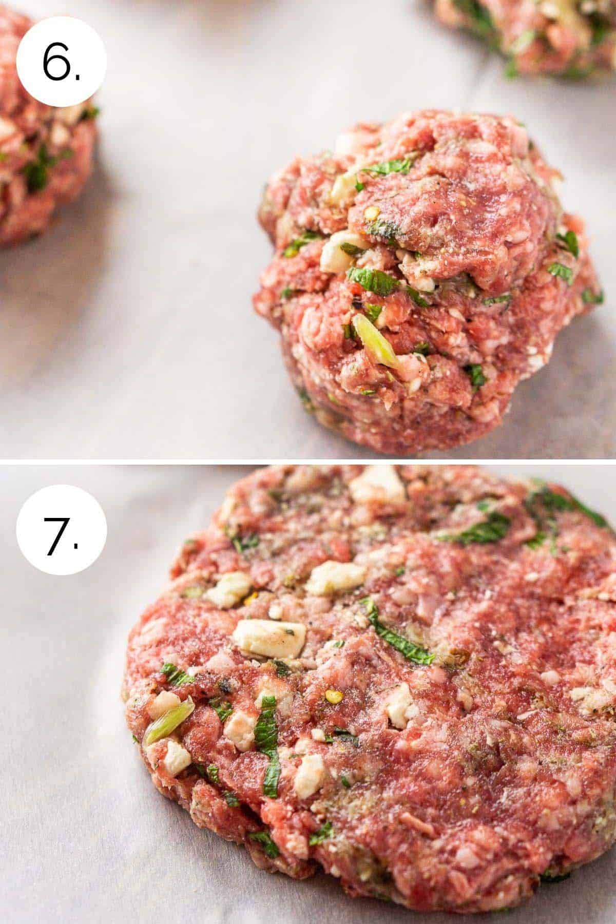 Shaping the ground meat into burger patties on parchment paper.