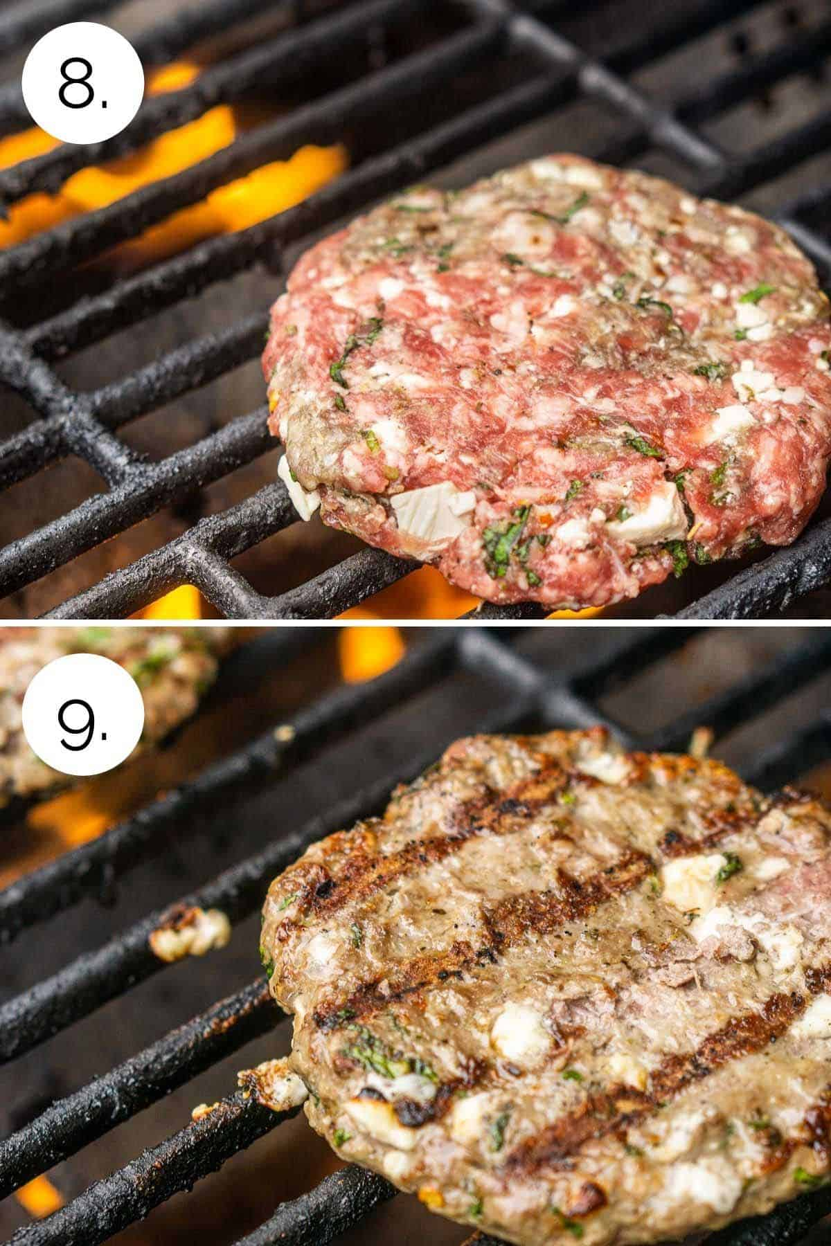 Grilling the lamb patties over an open flame.