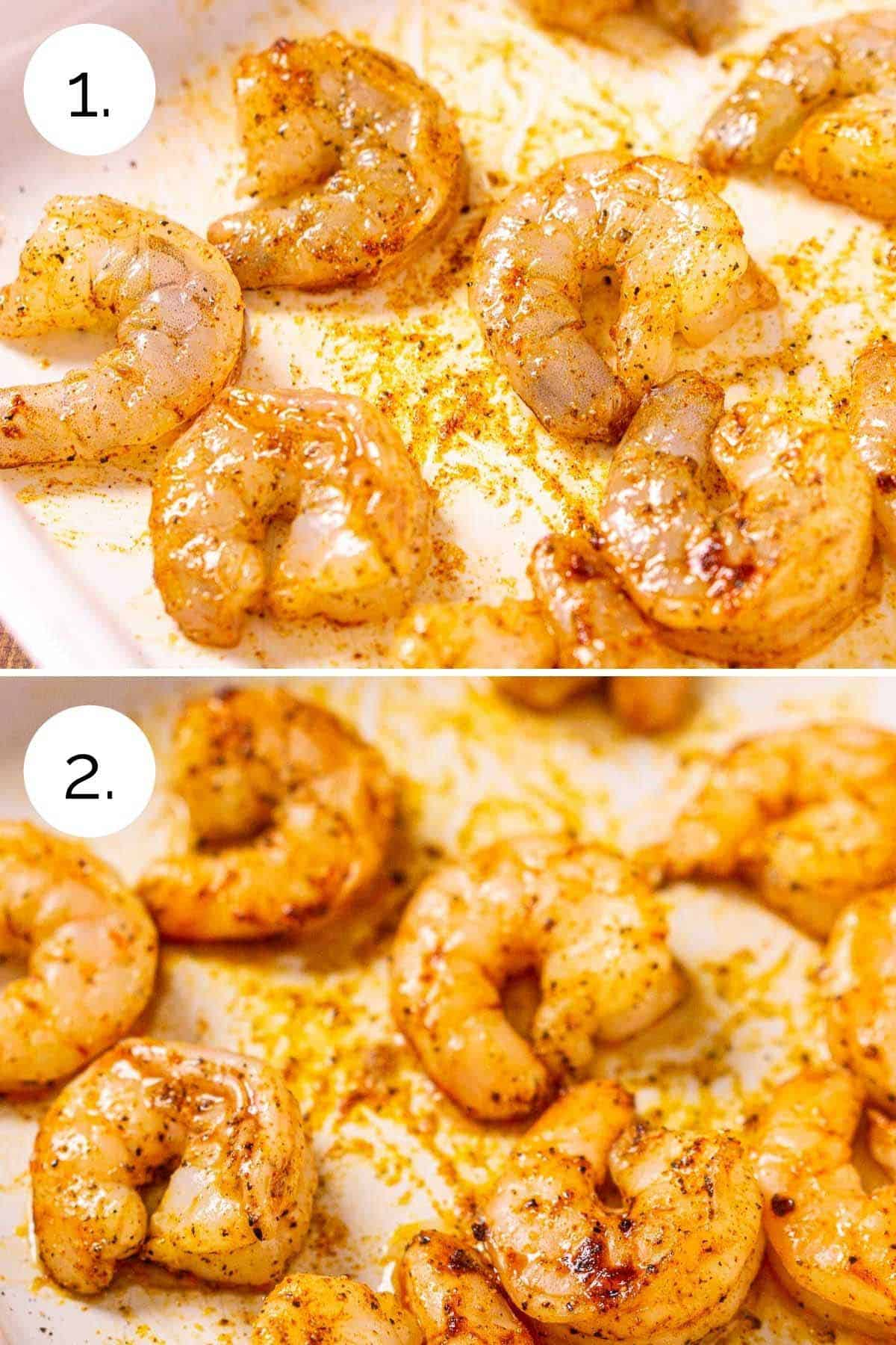 The shrimp in a white roasting pan before and after they've been cooked.