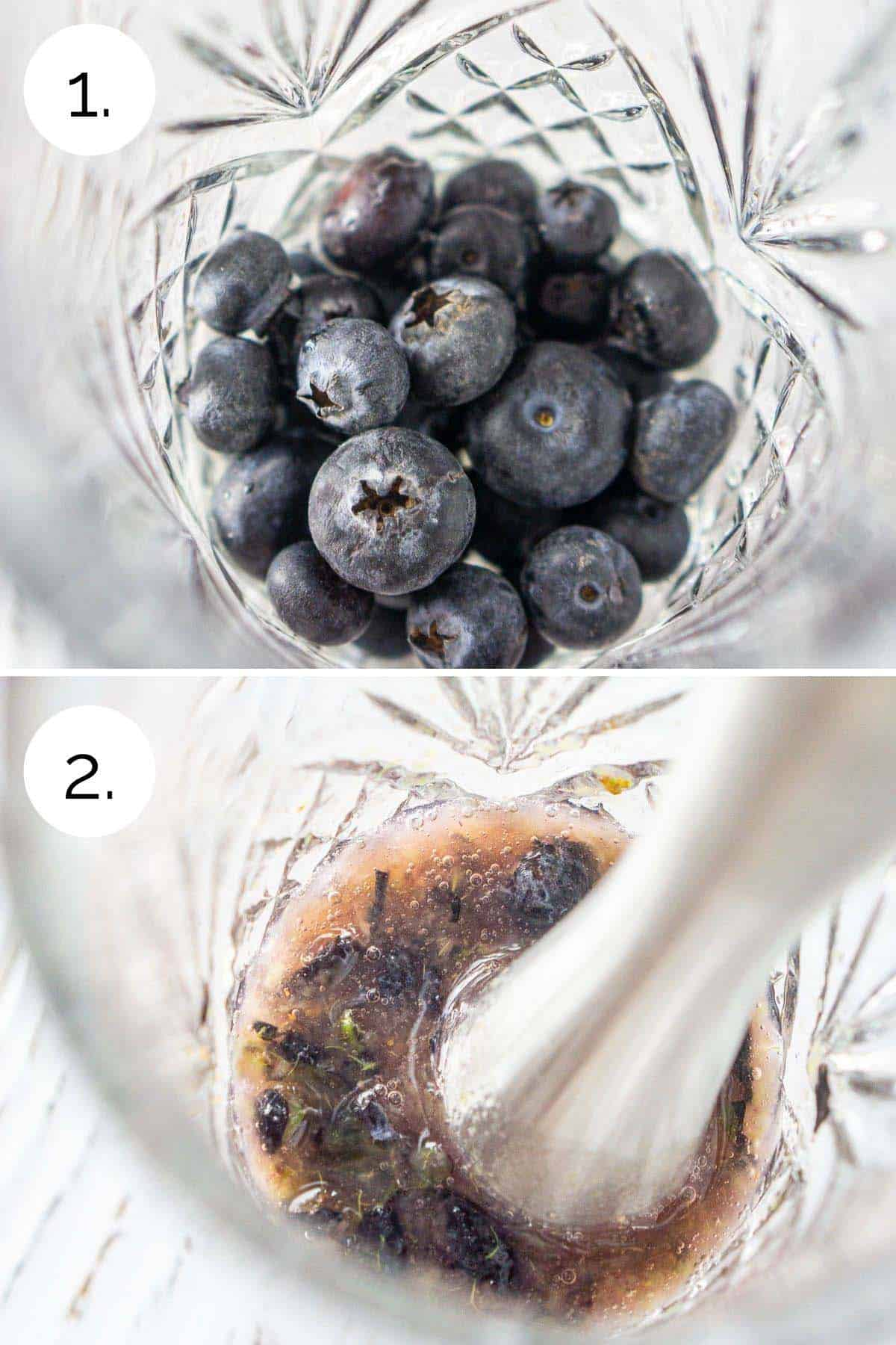 Muddling the blueberries in a cocktail shaker until well pulverized.