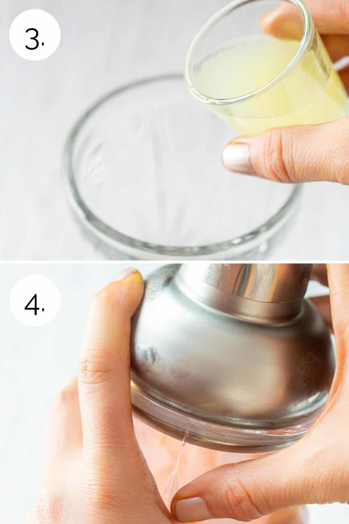 A collage showing adding the lime juice and then shaking until combined.