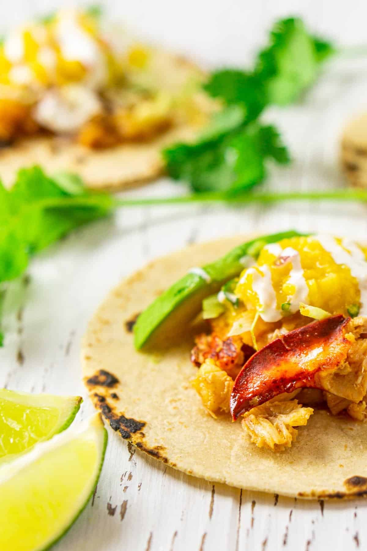 A close-up shot of the lobster tacos with two limes to the side.