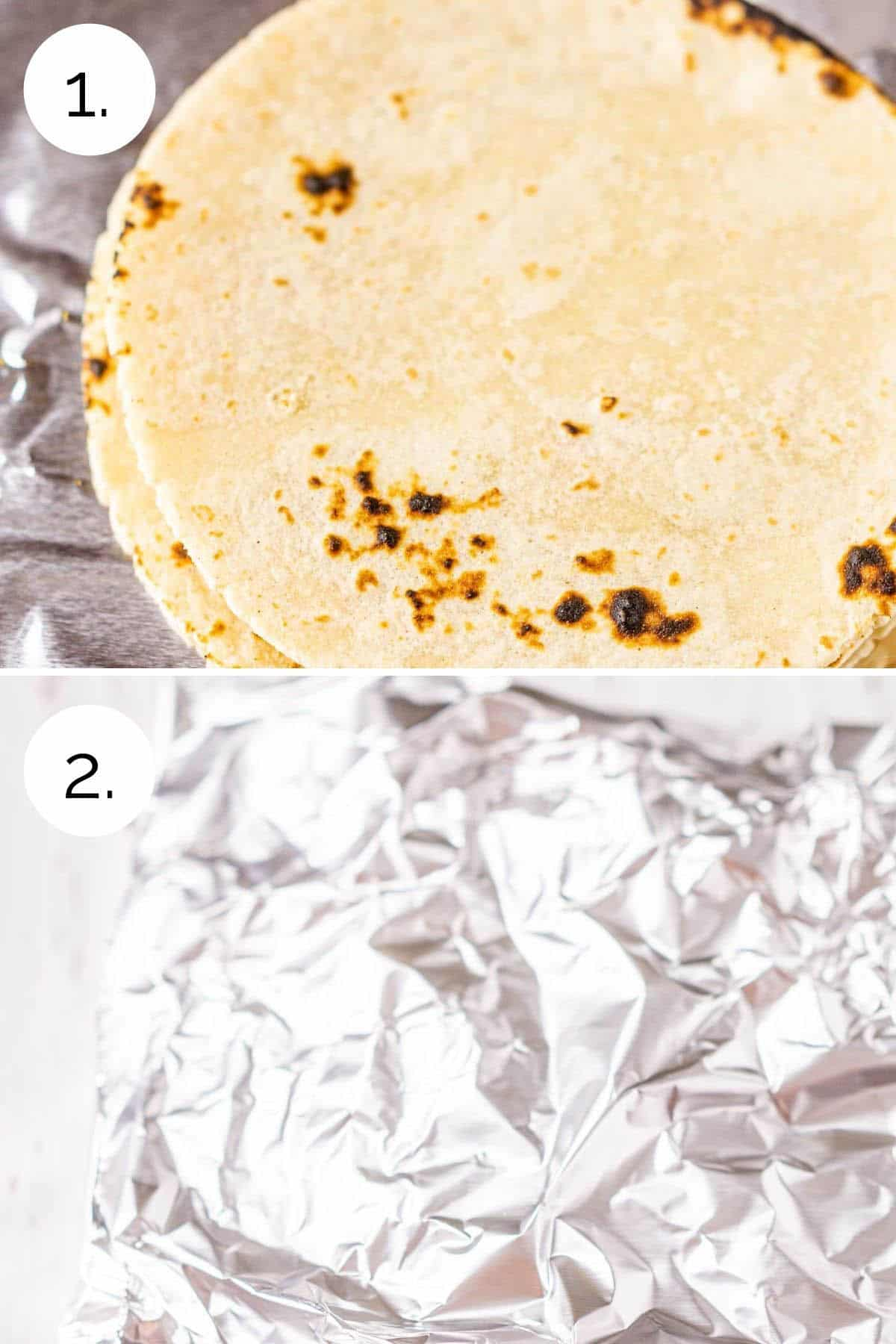 Wrapping the tortillas in foil before warming in the oven.