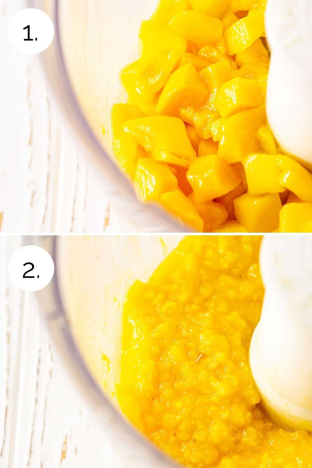 A collage showing the process of making the mango base in a food processor.