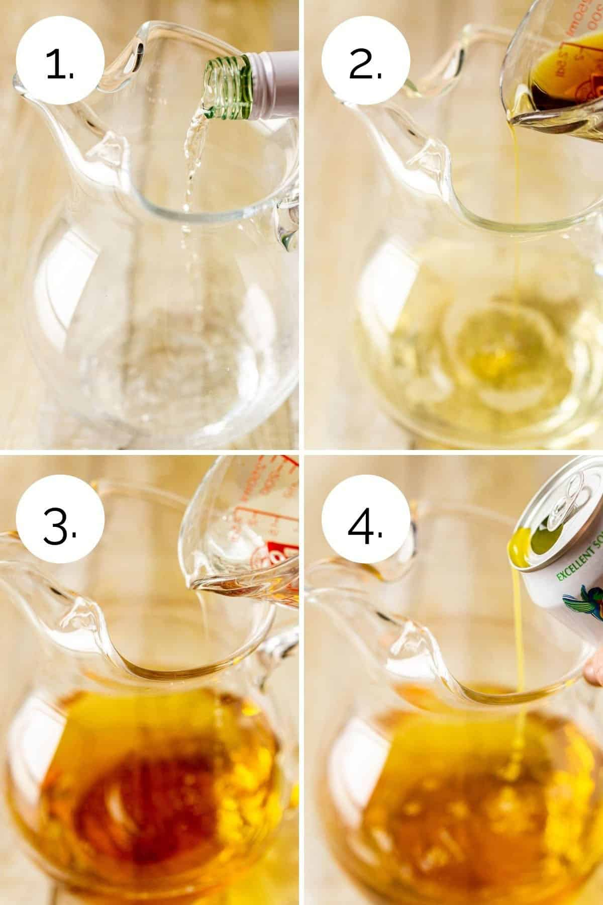 Showing the process of pouring the ingredients into a glass pitcher.
