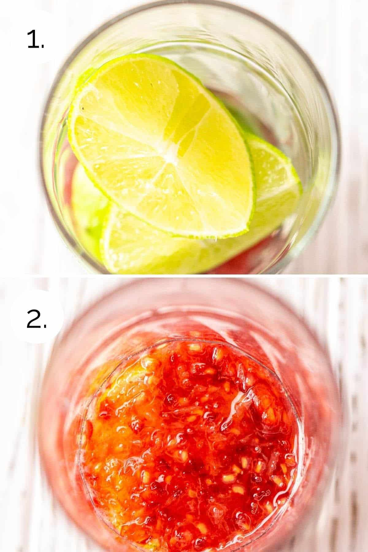 A collage showing the process of muddling the fruit.