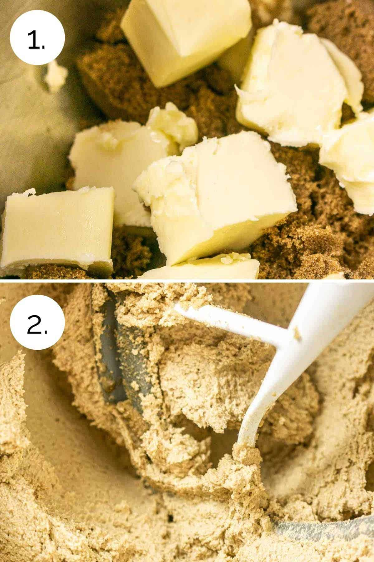 Showing the process of beating the sugar and butter until light and fluffy.