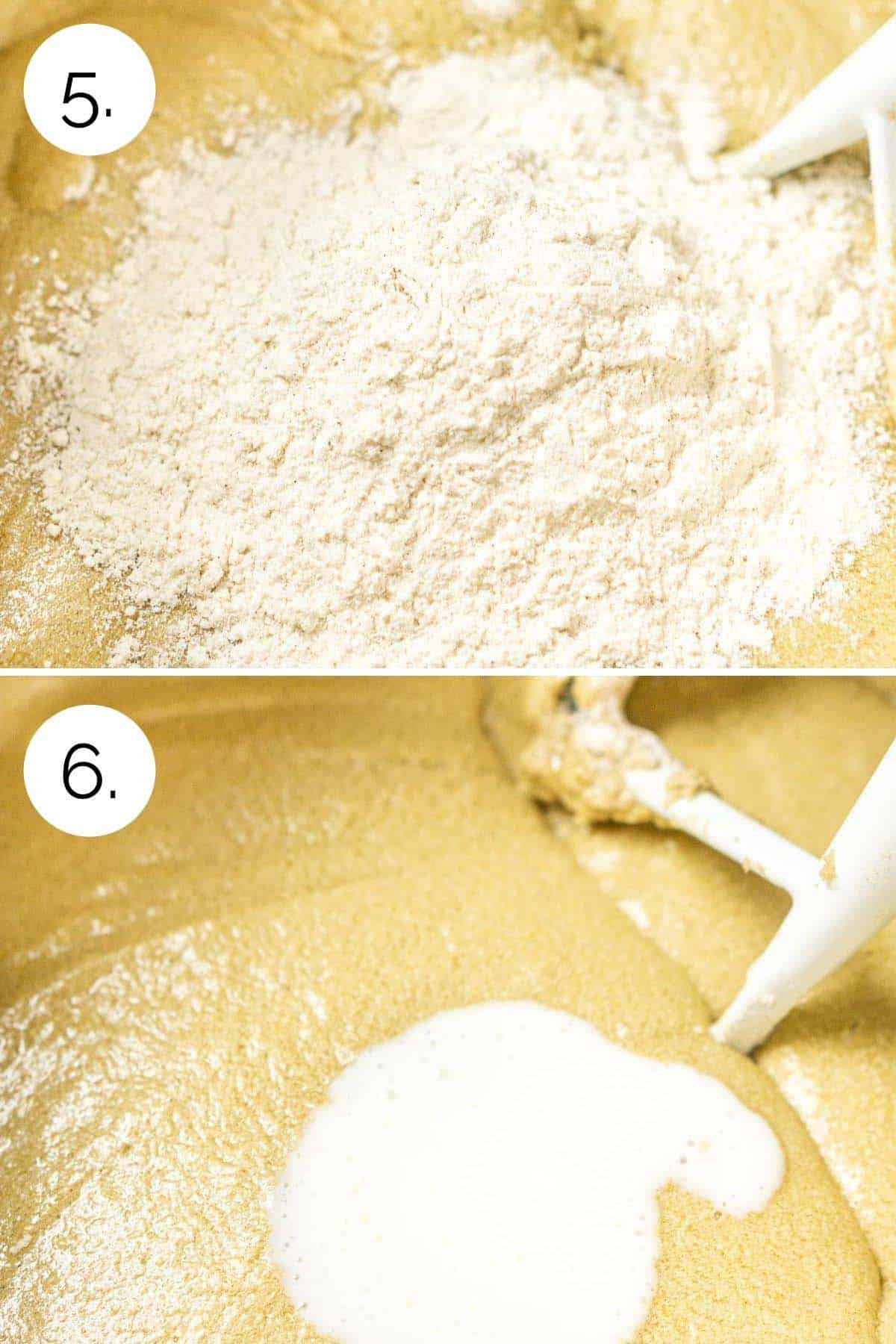 Adding the flour mixture and buttermilk in the mixing bowl to the batter.