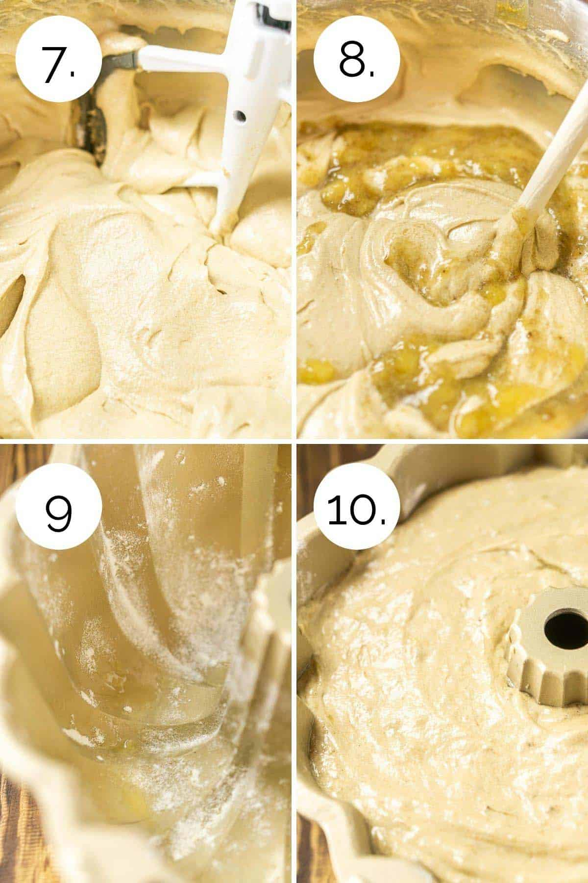 Showing the process of beating the batter and preparing it for baking.
