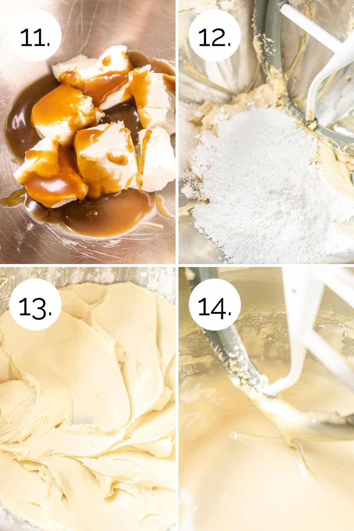 A collage showing how to make the caramel cream cheese glaze in a mixing bowl.