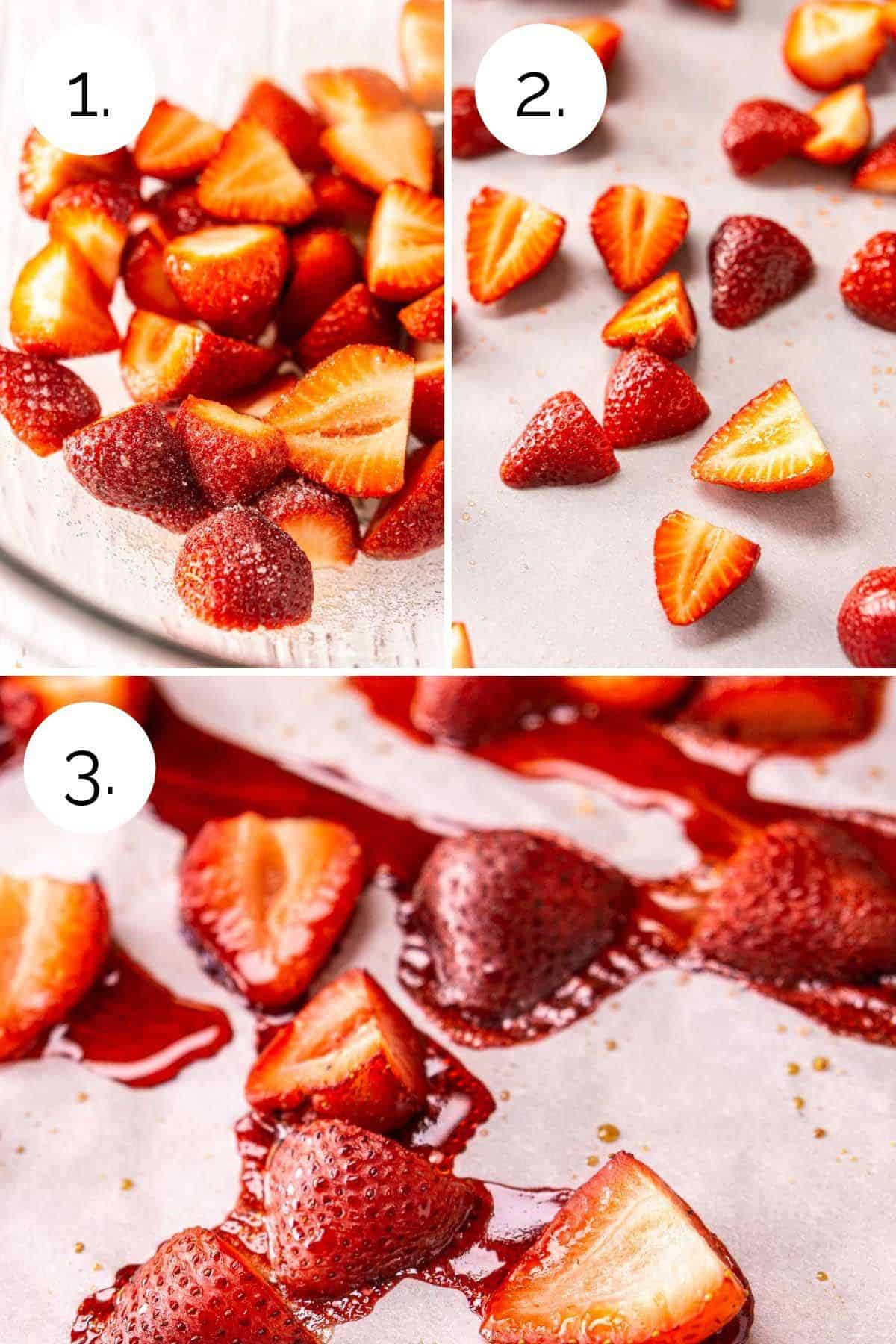 Showing the process of roasting the strawberries until they're syrupy.