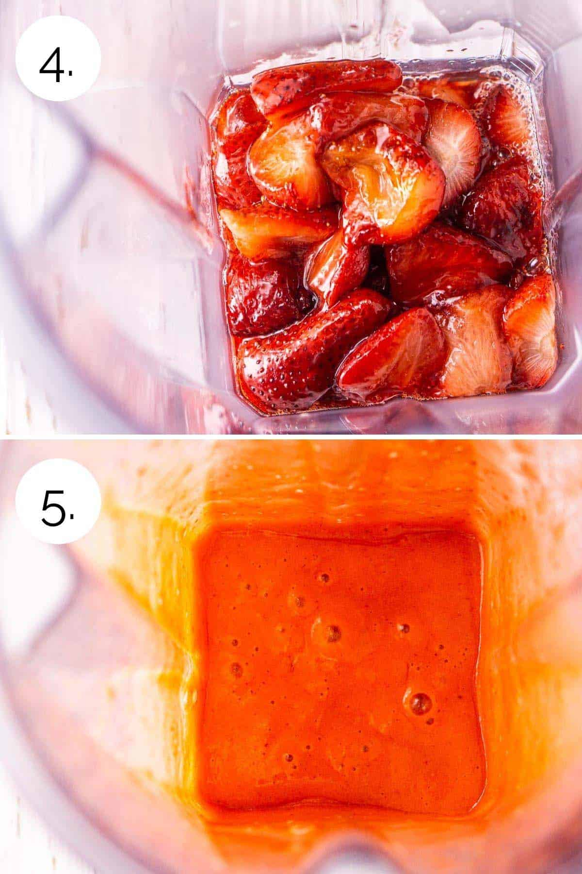 Blending the roasted strawberries until they make a smooth purée.