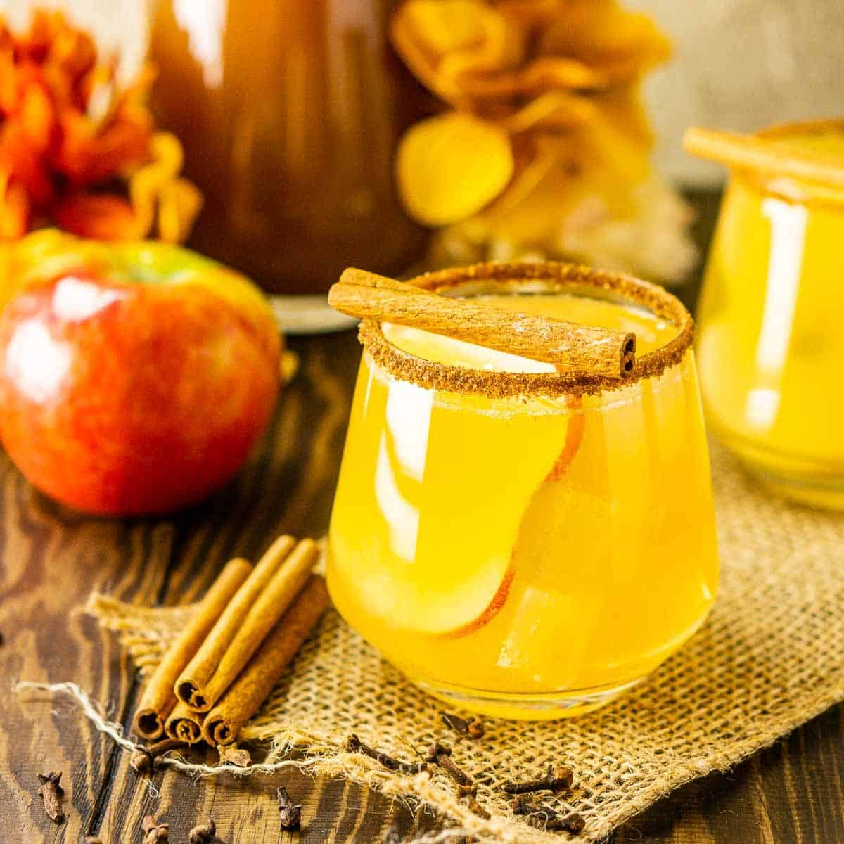 A sparkling apple cider margarita with cinnamon sticks and an apple to the side.