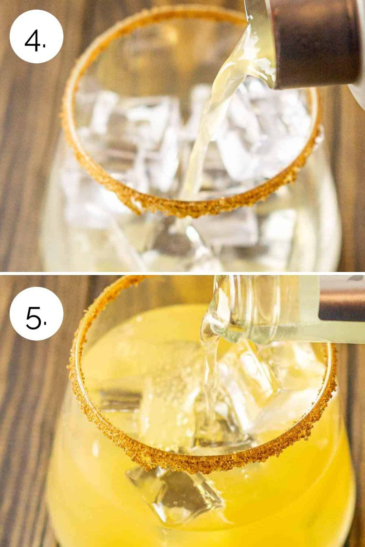 A collage showing straining of the margarita and topping with ginger beer.