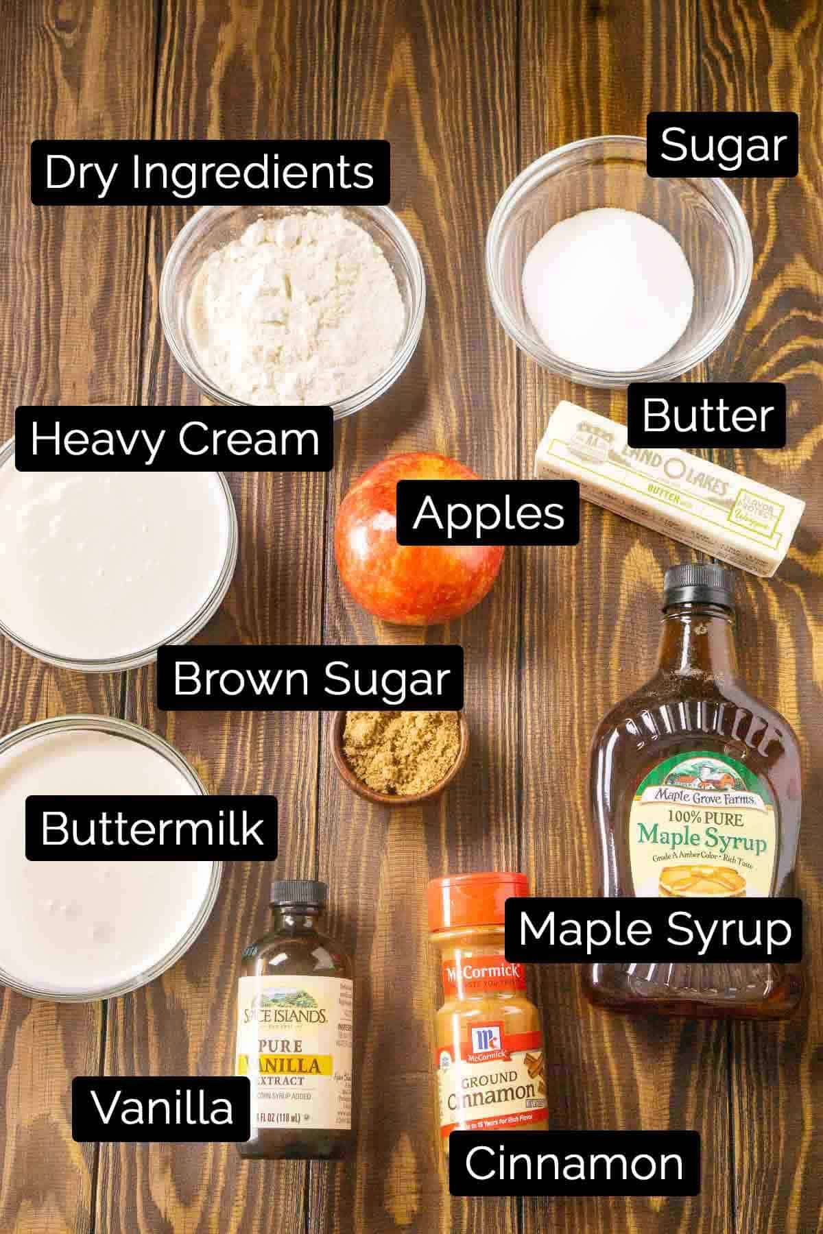 The ingredients with labels on a wooden board.
